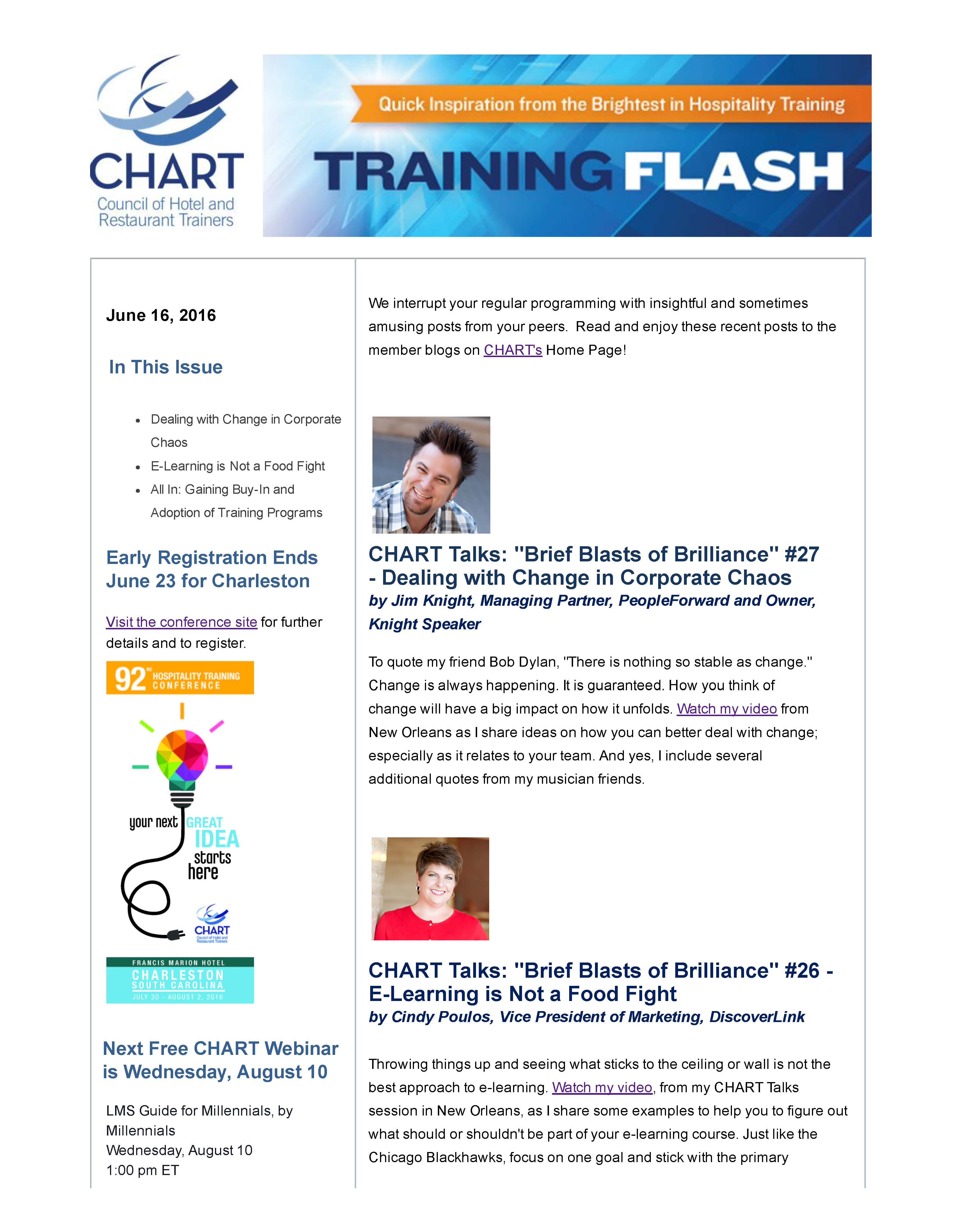 Training Flash E-Newsletter